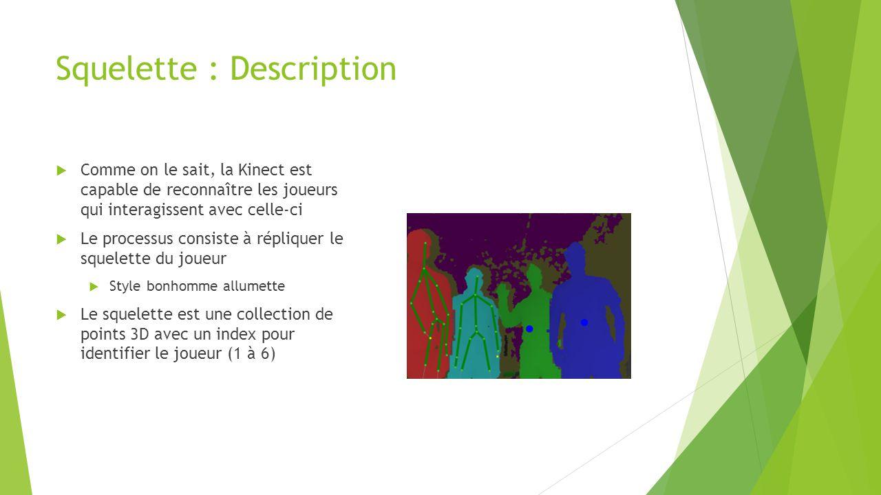 Squelette : Description  Comme on le sait, la Kinect est capable de reconnaître les joueurs qui interagissent avec celle-ci  Le processus consiste à