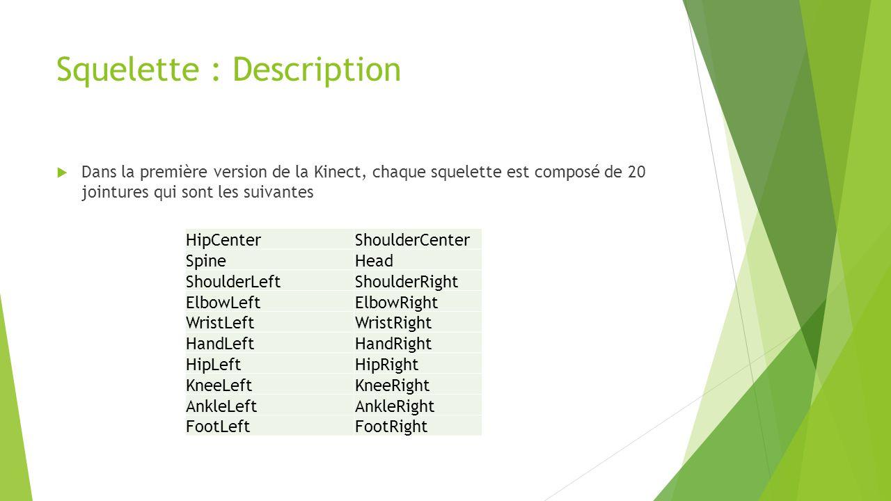 Squelette : Description  Dans la première version de la Kinect, chaque squelette est composé de 20 jointures qui sont les suivantes HipCenterShoulder