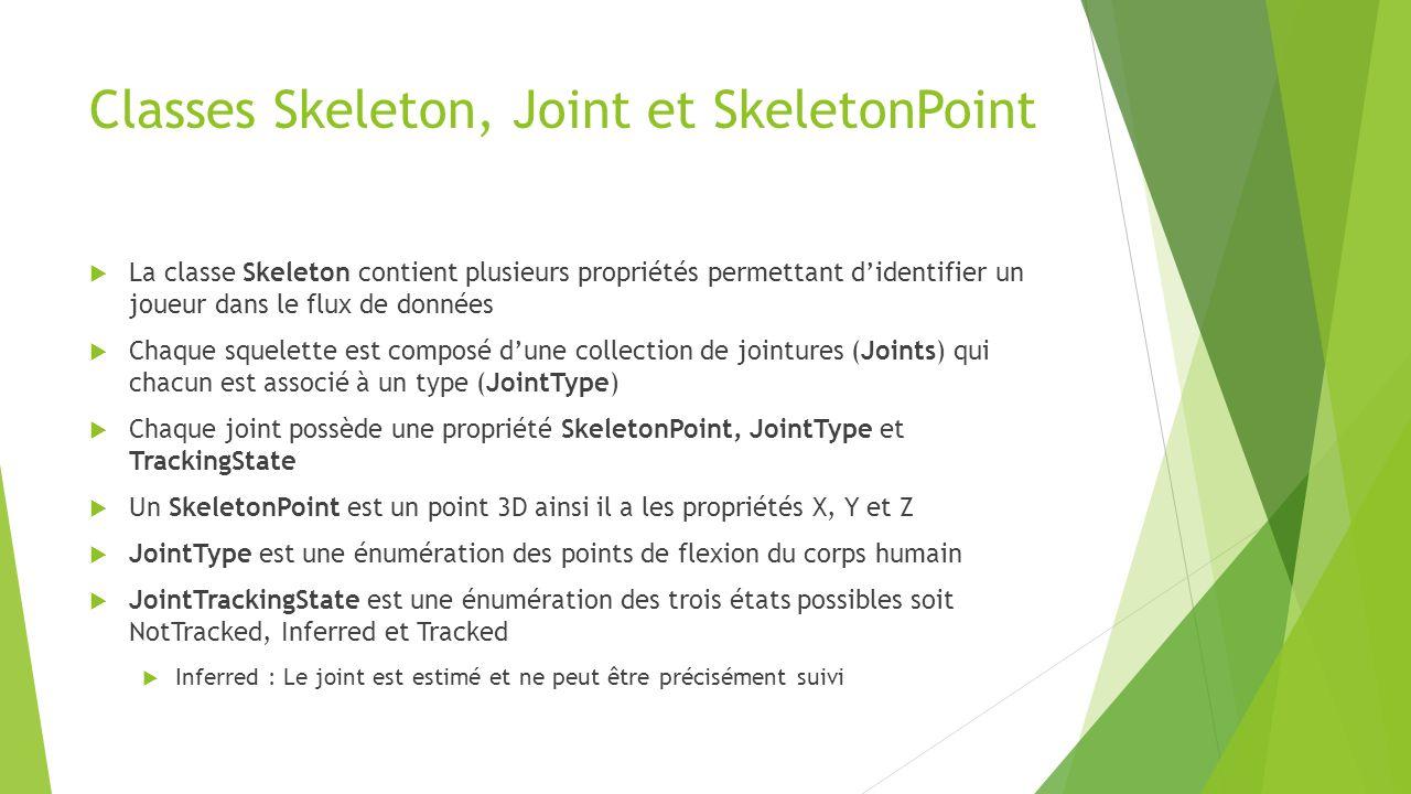 Classes Skeleton, Joint et SkeletonPoint  La classe Skeleton contient plusieurs propriétés permettant d'identifier un joueur dans le flux de données