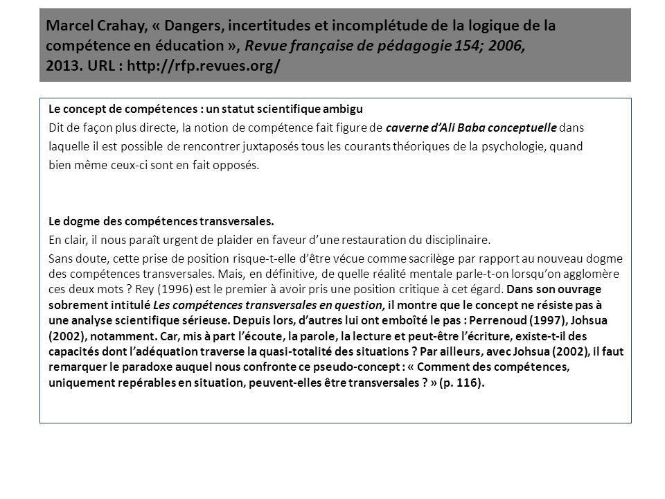 Marcel Crahay, « Dangers, incertitudes et incomplétude de la logique de la compétence en éducation », Revue française de pédagogie 154; 2006, 2013. UR