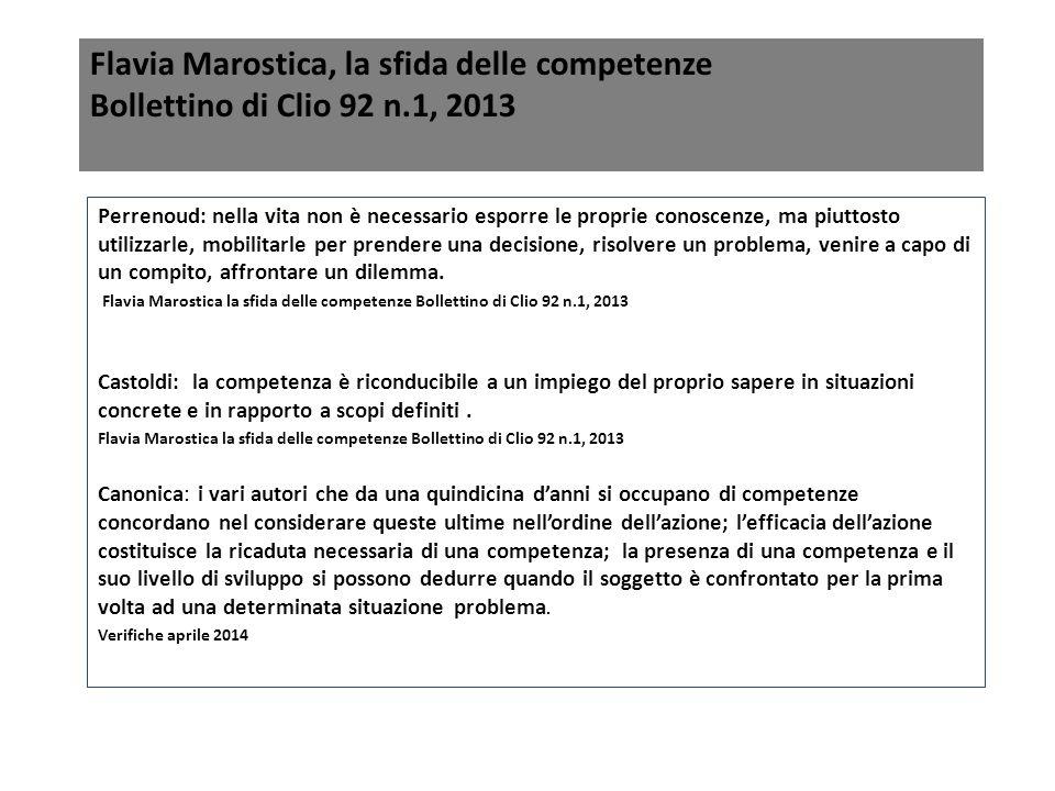 Flavia Marostica, la sfida delle competenze Bollettino di Clio 92 n.1, 2013 Perrenoud: nella vita non è necessario esporre le proprie conoscenze, ma p