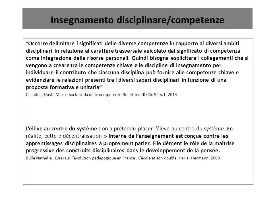 """Insegnamento disciplinare/competenze """" Occorre delimitare i significati delle diverse competenze in rapporto ai diversi ambiti disciplinari in relazio"""