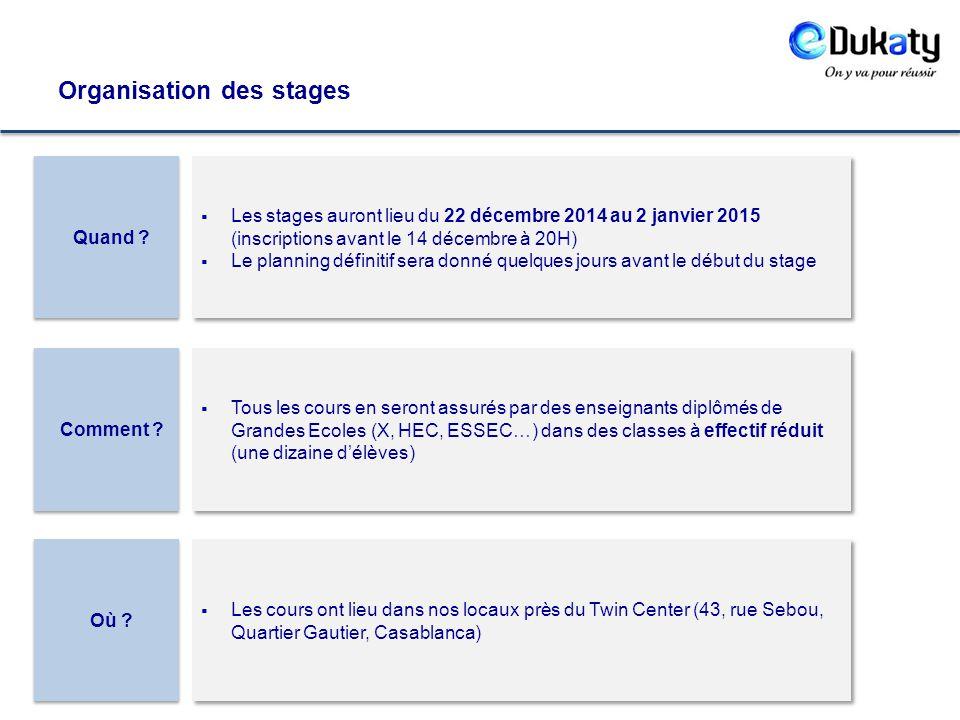 Organisation des stages Où ? Comment ? Quand ?  Les stages auront lieu du 22 décembre 2014 au 2 janvier 2015 (inscriptions avant le 14 décembre à 20H