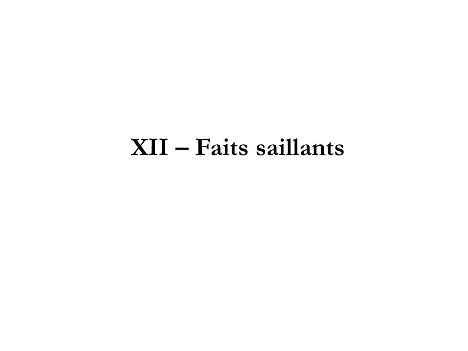 XII – Faits saillants
