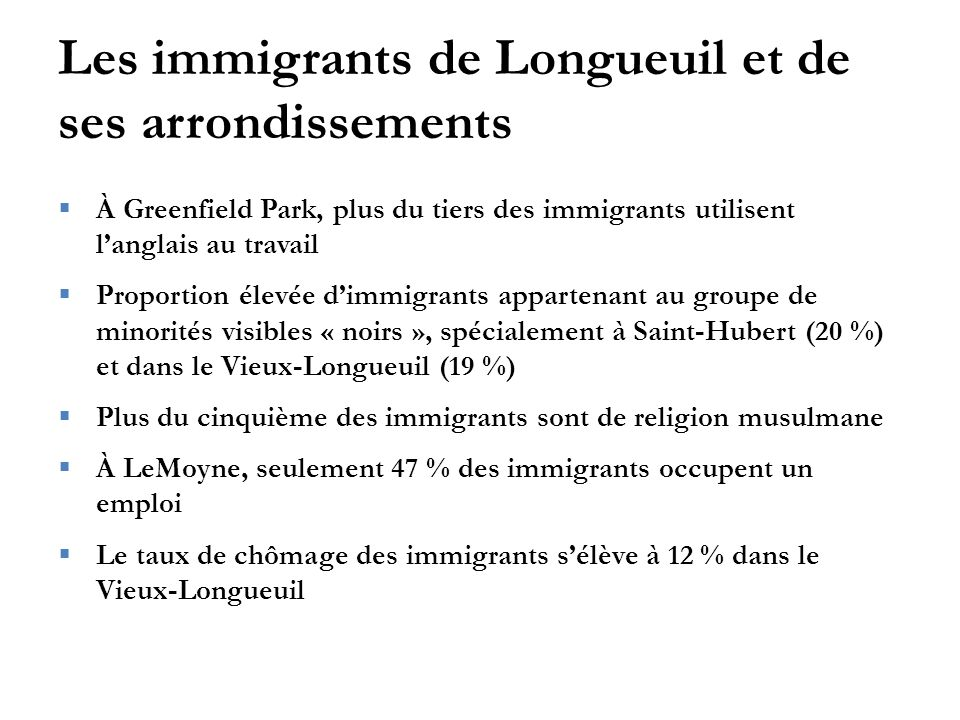 Les immigrants de Longueuil et de ses arrondissements  À Greenfield Park, plus du tiers des immigrants utilisent l'anglais au travail  Proportion él