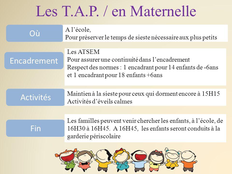 Les T.A.P. / en Maternelle Où A l'école, Pour préserver le temps de sieste nécessaire aux plus petits Encadrement Les ATSEM Pour assurer une continuit