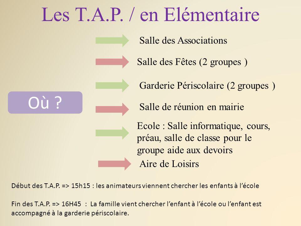 Les T.A.P./ en Elémentaire Où .