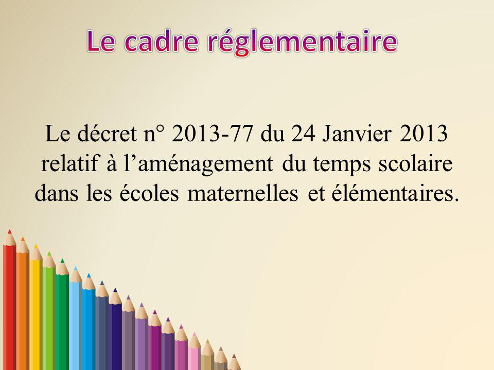 Le décret n° 2013-77 du 24 Janvier 2013 relatif à l'aménagement du temps scolaire dans les écoles maternelles et élémentaires.