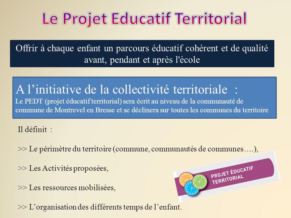 Offrir à chaque enfant un parcours éducatif cohérent et de qualité avant, pendant et après l'école A l'initiative de la collectivité territoriale : Le