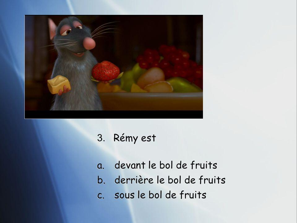 3. Rémy est a.devant le bol de fruits b.derrière le bol de fruits c.sous le bol de fruits