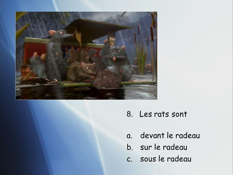 8. Les rats sont a.devant le radeau b.sur le radeau c.sous le radeau