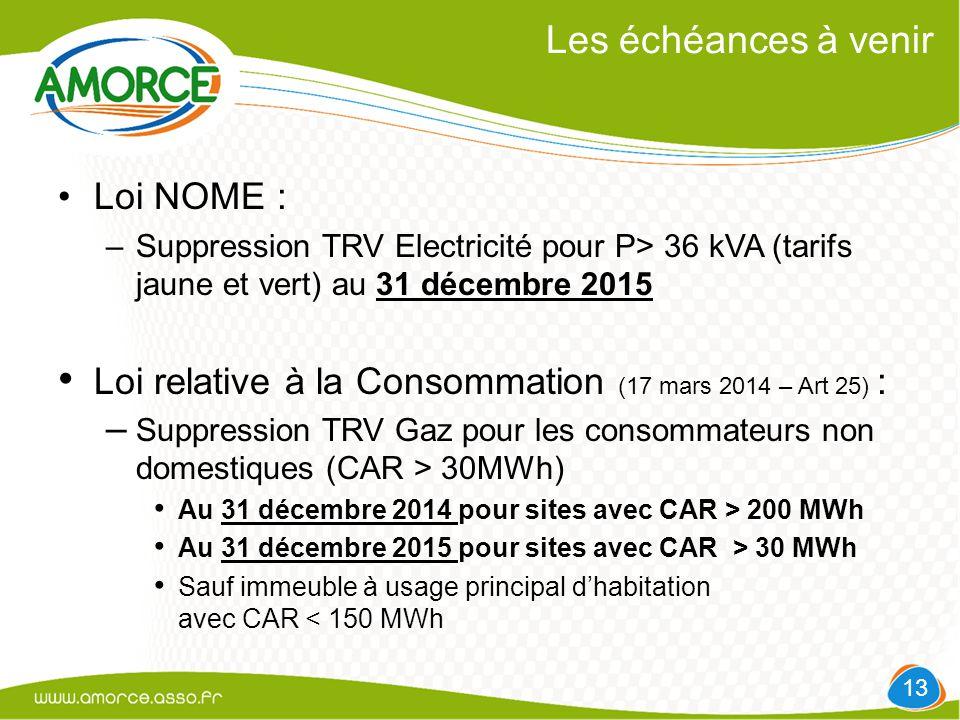 Les échéances à venir Loi NOME : –Suppression TRV Electricité pour P> 36 kVA (tarifs jaune et vert) au 31 décembre 2015 Loi relative à la Consommation (17 mars 2014 – Art 25) : – Suppression TRV Gaz pour les consommateurs non domestiques (CAR > 30MWh) Au 31 décembre 2014 pour sites avec CAR > 200 MWh Au 31 décembre 2015 pour sites avec CAR > 30 MWh Sauf immeuble à usage principal d'habitation avec CAR < 150 MWh 13