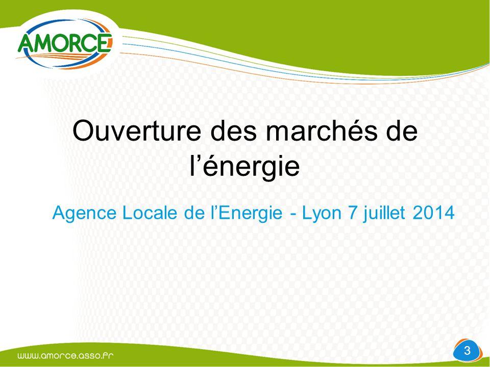 Ouverture des marchés de l'énergie Agence Locale de l'Energie - Lyon 7 juillet 2014 3
