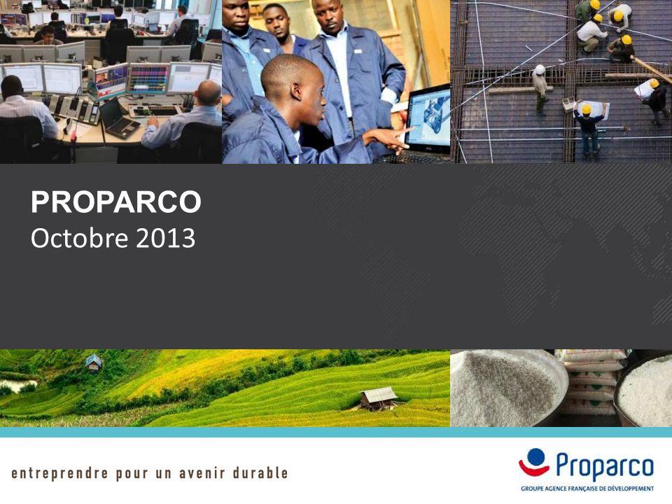 PROFIL DE PROPARCO Chiffres Clés 2012 3,1 Mds € en portefeuille 340 clients 740 M€ de signatures en 2012 60 pays 172 collaborateurs Fondée en 1977, PROPARCO est une institution financière de développement dédiée au financement du secteur privé.