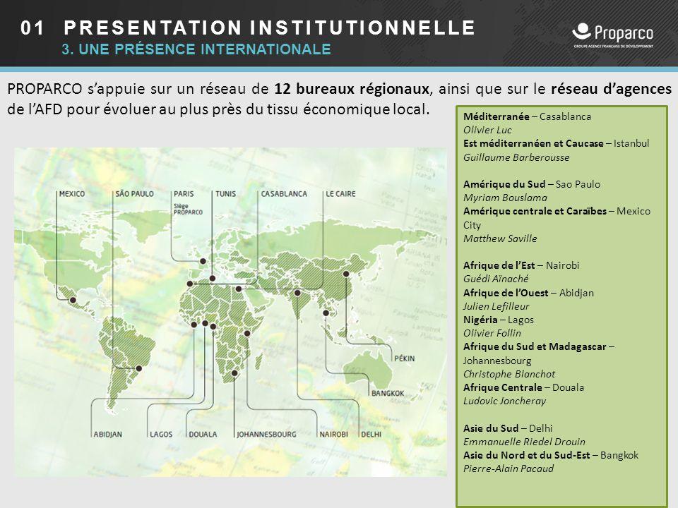 01 PRESENTATION INSTITUTIONNELLE 3. UNE PRÉSENCE INTERNATIONALE PROPARCO s'appuie sur un réseau de 12 bureaux régionaux, ainsi que sur le réseau d'age