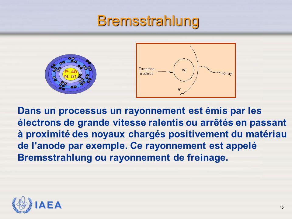 IAEA Bremsstrahlung Dans un processus un rayonnement est émis par les électrons de grande vitesse ralentis ou arrêtés en passant à proximité des noyau
