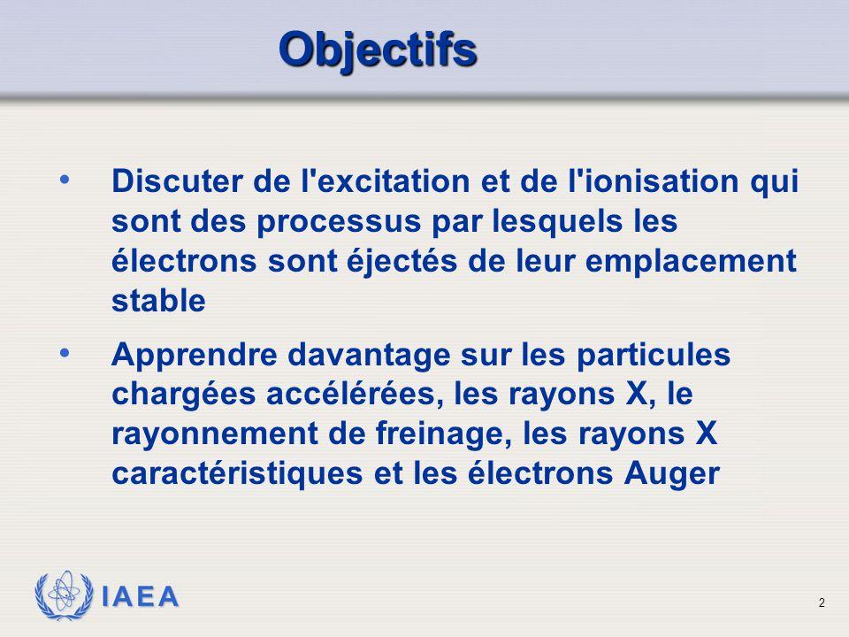 IAEA Discuter de l'excitation et de l'ionisation qui sont des processus par lesquels les électrons sont éjectés de leur emplacement stable Apprendre d