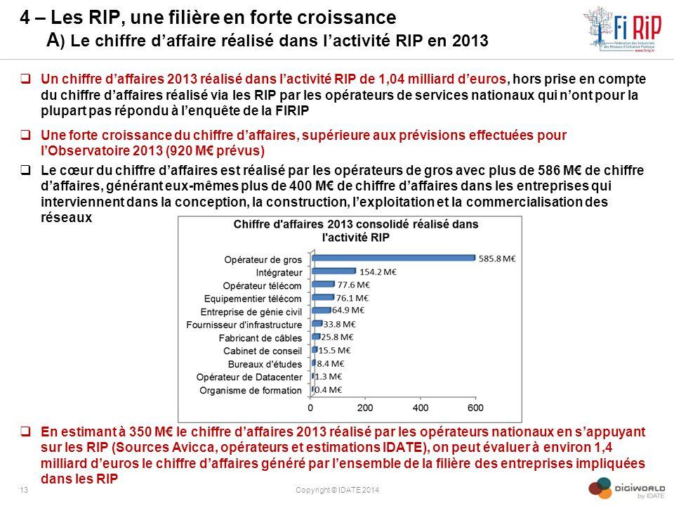 4 – Les RIP, une filière en forte croissance A ) Le chiffre d'affaire réalisé dans l'activité RIP en 2013  Un chiffre d'affaires 2013 réalisé dans l'