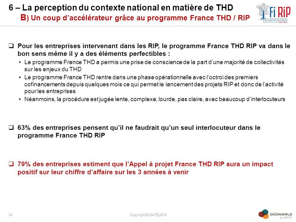 6 – La perception du contexte national en matière de THD B ) Un coup d'accélérateur grâce au programme France THD / RIP  Pour les entreprises interve