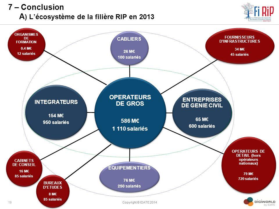 7 – Conclusion A ) L'écosystème de la filière RIP en 2013 Copyright © IDATE 201419Copyright © IDATE 2014 OPERATEURS DE GROS 586 M€ 1 110 salariés CABL