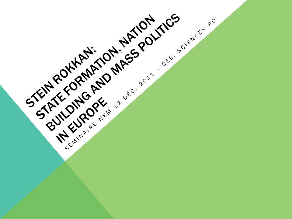 PLAN DE LA PRÉSENTATION 1.Introduction et présentation générale de la théorie de Stein Rokkan 2.