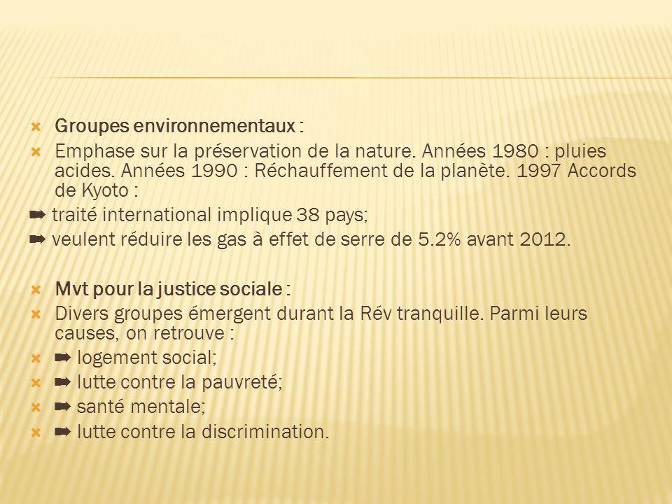  Groupes environnementaux :  Emphase sur la préservation de la nature.