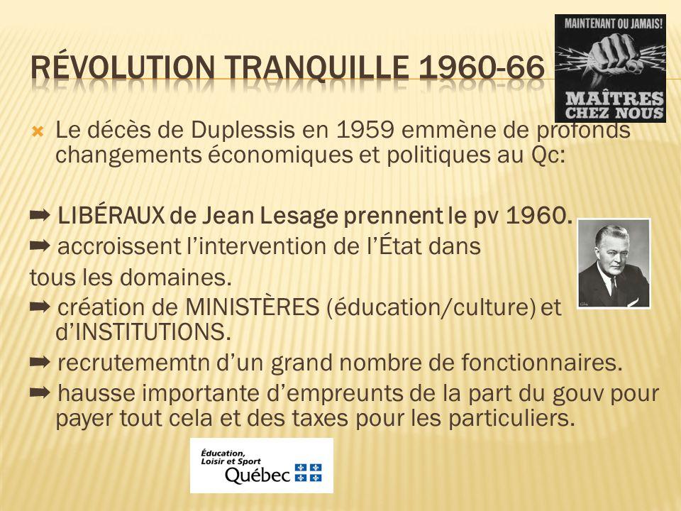  Le décès de Duplessis en 1959 emmène de profonds changements économiques et politiques au Qc: ➡ LIBÉRAUX de Jean Lesage prennent le pv 1960.
