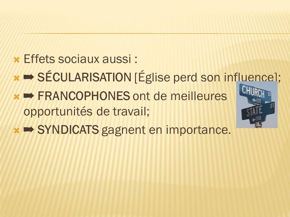  Effets sociaux aussi :  ➡ SÉCULARISATION [Église perd son influence];  ➡ FRANCOPHONES ont de meilleures opportunités de travail;  ➡ SYNDICATS gagnent en importance.