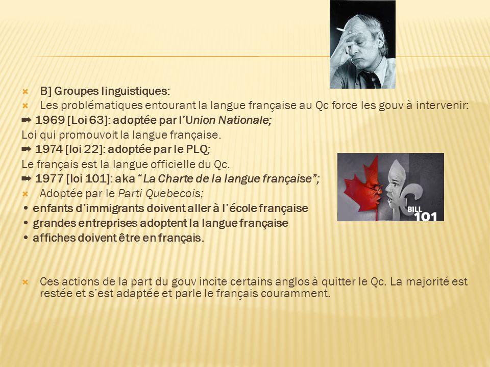  B] Groupes linguistiques:  Les problématiques entourant la langue française au Qc force les gouv à intervenir: ➡ 1969 [Loi 63]: adoptée par l'Union Nationale; Loi qui promouvoit la langue française.