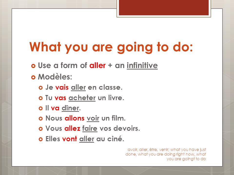 What you are doing right now:  Use être en train de + an infinitive  Modèles:  Je suis en train de manger.