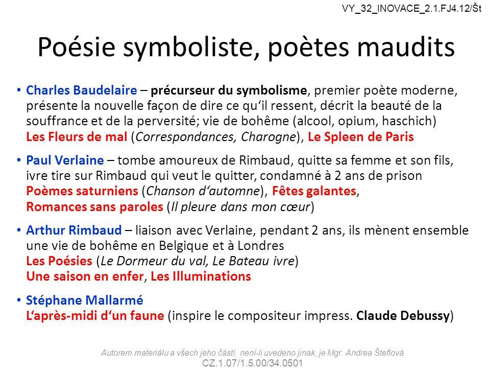 Poésie symboliste, poètes maudits Charles Baudelaire – précurseur du symbolisme, premier poète moderne, présente la nouvelle façon de dire ce qu'il re