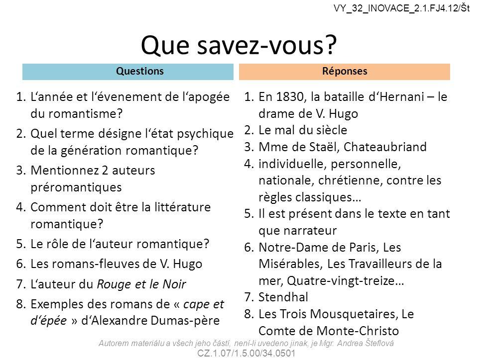 Que savez-vous? Questions 1.L'année et l'évenement de l'apogée du romantisme? 2.Quel terme désigne l'état psychique de la génération romantique? 3.Men
