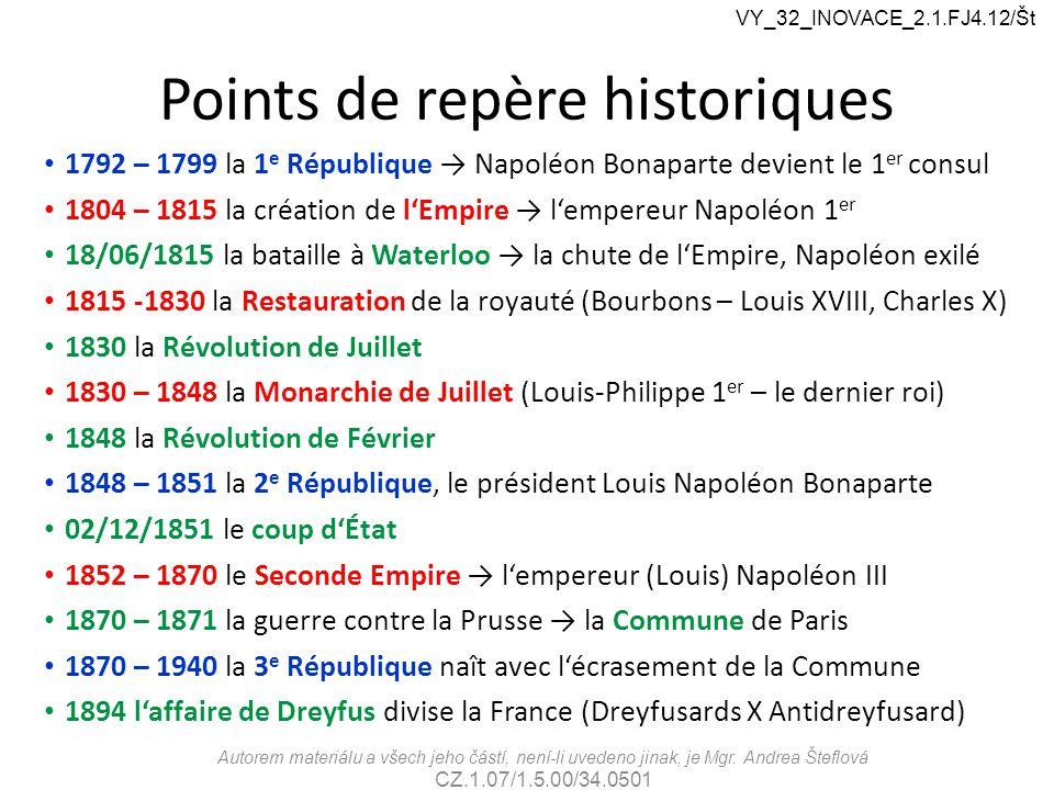 Points de repère historiques 1792 – 1799 la 1 e République → Napoléon Bonaparte devient le 1 er consul 1804 – 1815 la création de l'Empire → l'empereu