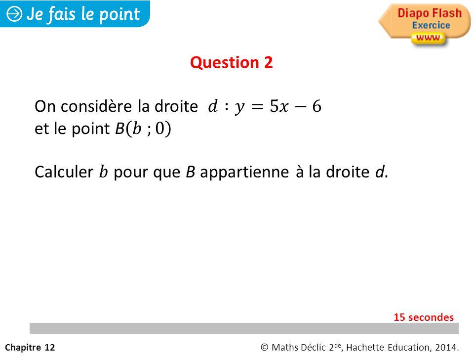 Question 2 Chapitre 12© Maths Déclic 2 de, Hachette Education, 2014. 15 secondes
