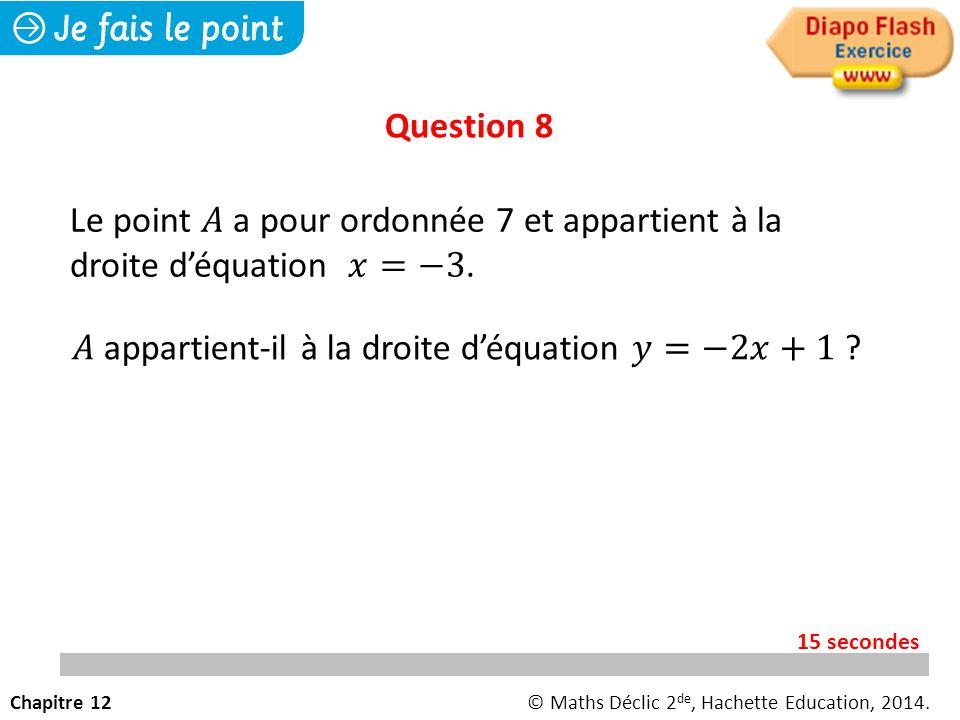 Question 8 Chapitre 12© Maths Déclic 2 de, Hachette Education, 2014. 15 secondes