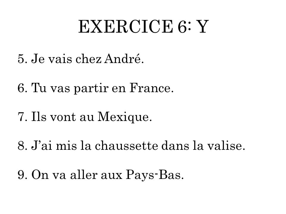 EXERCICE 6: Y 5. Je vais chez André. 6. Tu vas partir en France. 7. Ils vont au Mexique. 8. J'ai mis la chaussette dans la valise. 9. On va aller aux