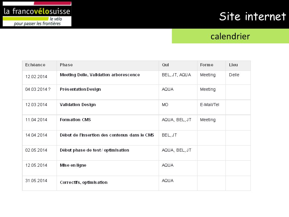 Site internet calendrier