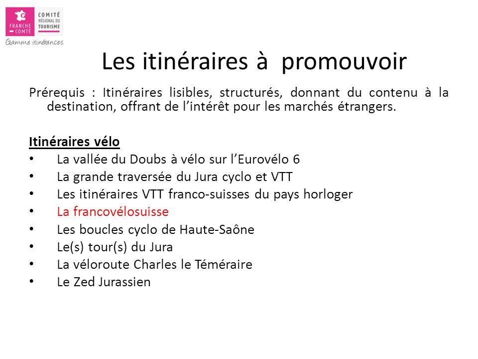 Les itinéraires à promouvoir Prérequis : Itinéraires lisibles, structurés, donnant du contenu à la destination, offrant de l'intérêt pour les marchés étrangers.