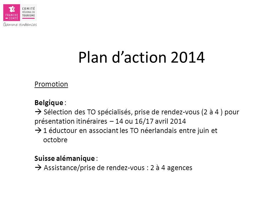 Promotion Belgique :  Sélection des TO spécialisés, prise de rendez-vous (2 à 4 ) pour présentation itinéraires – 14 ou 16/17 avril 2014  1 éductour en associant les TO néerlandais entre juin et octobre Suisse alémanique :  Assistance/prise de rendez-vous : 2 à 4 agences Plan d'action 2014
