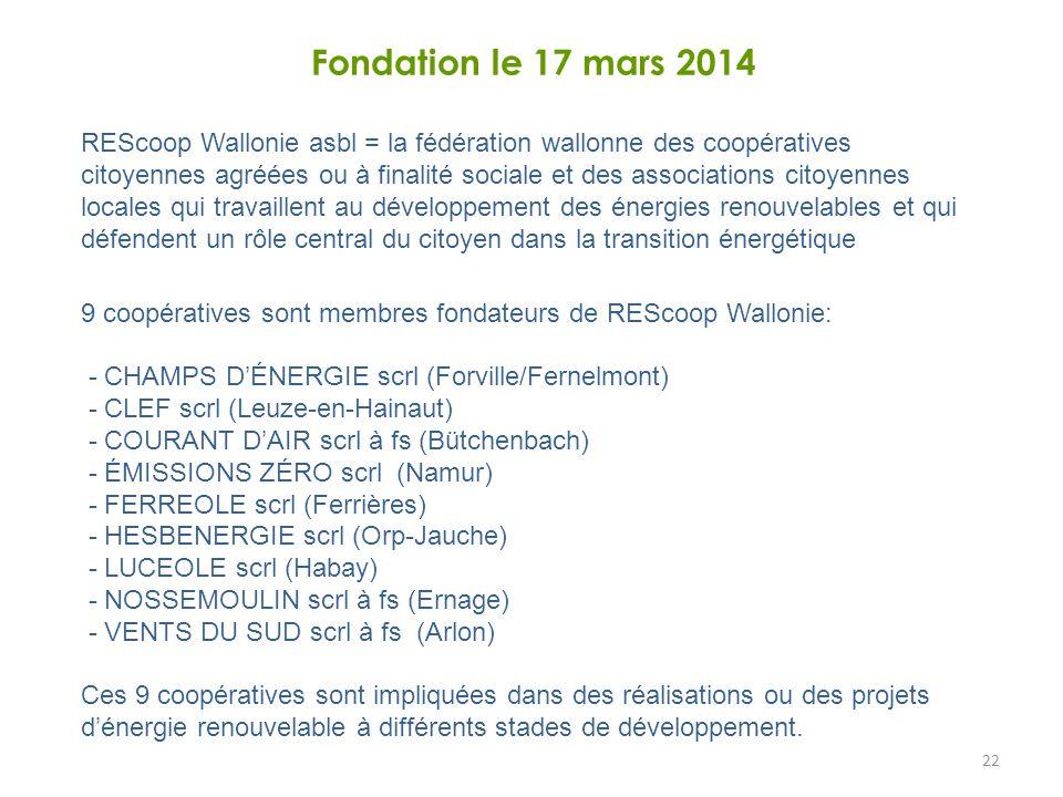 22 Fondation le 17 mars 2014 REScoop Wallonie asbl = la fédération wallonne des coopératives citoyennes agréées ou à finalité sociale et des associations citoyennes locales qui travaillent au développement des énergies renouvelables et qui défendent un rôle central du citoyen dans la transition énergétique 9 coopératives sont membres fondateurs de REScoop Wallonie: - CHAMPS D'ÉNERGIE scrl (Forville/Fernelmont) - CLEF scrl (Leuze-en-Hainaut) - COURANT D'AIR scrl à fs (Bütchenbach) - ÉMISSIONS ZÉRO scrl (Namur) - FERREOLE scrl (Ferrières) - HESBENERGIE scrl (Orp-Jauche) - LUCEOLE scrl (Habay) - NOSSEMOULIN scrl à fs (Ernage) - VENTS DU SUD scrl à fs (Arlon) Ces 9 coopératives sont impliquées dans des réalisations ou des projets d'énergie renouvelable à différents stades de développement.