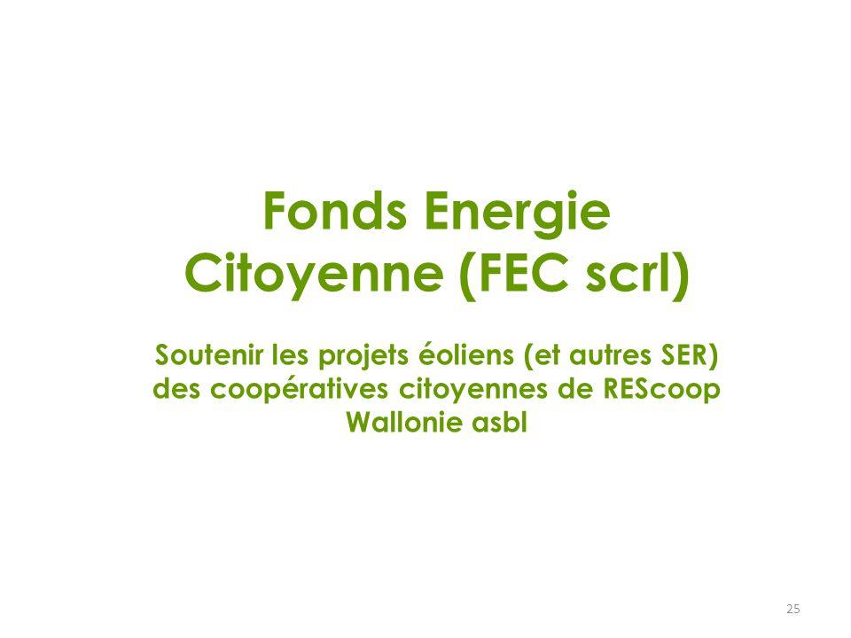 25 Fonds Energie Citoyenne (FEC scrl) Soutenir les projets éoliens (et autres SER) des coopératives citoyennes de REScoop Wallonie asbl