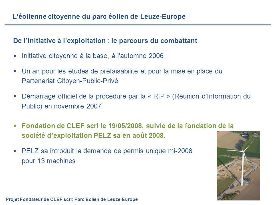  Initiative citoyenne à la base, à l'automne 2006  Un an pour les études de préfaisabilité et pour la mise en place du Partenariat Citoyen-Public-Privé  Démarrage officiel de la procédure par la « RIP » (Réunion d'Information du Public) en novembre 2007  Fondation de CLEF scrl le 19/05/2008, suivie de la fondation de la société d'exploitation PELZ sa en août 2008.