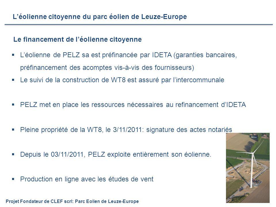 8  L'éolienne de PELZ sa est préfinancée par IDETA (garanties bancaires, préfinancement des acomptes vis-à-vis des fournisseurs)  Le suivi de la construction de WT8 est assuré par l'intercommunale  PELZ met en place les ressources nécessaires au refinancement d'IDETA  Pleine propriété de la WT8, le 3/11/2011: signature des actes notariés  Depuis le 03/11/2011, PELZ exploite entièrement son éolienne.