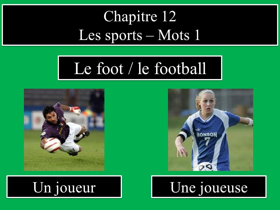Chapitre 12 Les sports – Mots 1 Chapitre 12 Les sports – Mots 1 Un joueur Le foot / le football Une joueuse