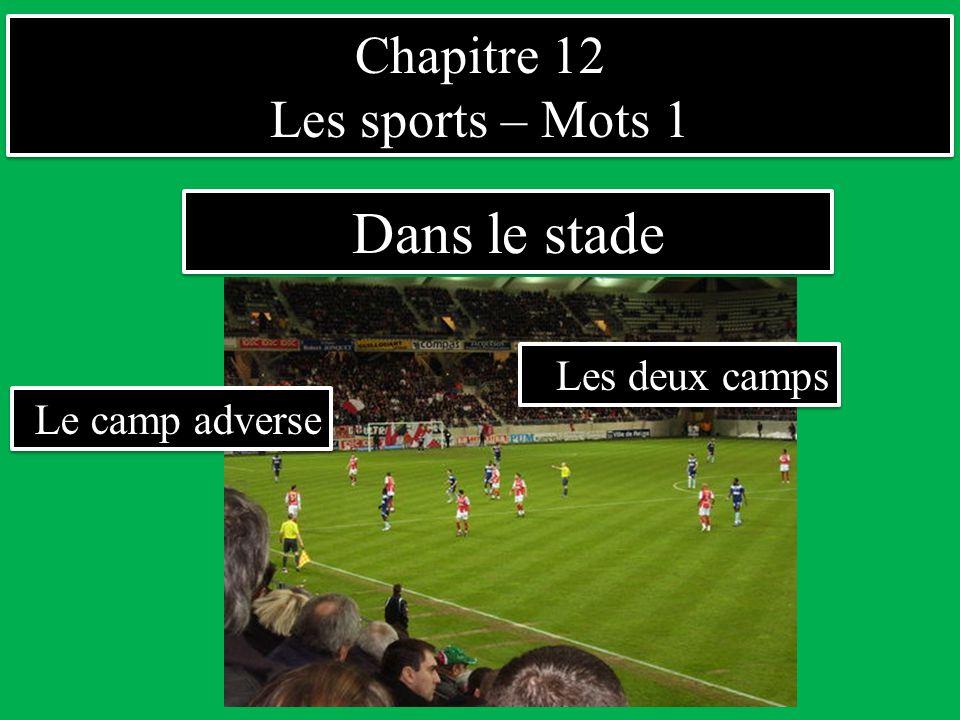 Chapitre 12 Les sports – Mots 1 Chapitre 12 Les sports – Mots 1 Dans le stade Les deux camps Le camp adverse
