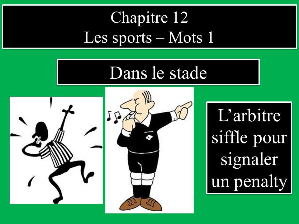 Chapitre 12 Les sports – Mots 1 Chapitre 12 Les sports – Mots 1 Dans le stade L'arbitre siffle pour signaler un penalty