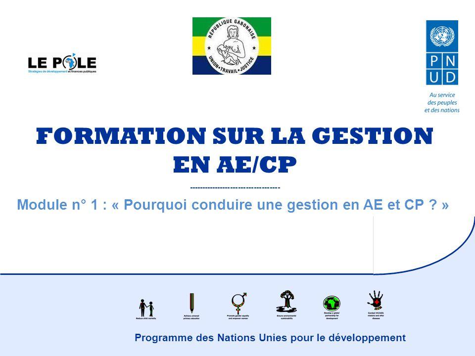 Programme des Nations Unies pour le développement FORMATION SUR LA GESTION EN AE/CP ----------------------------------- Module n° 1 : « Pourquoi condu