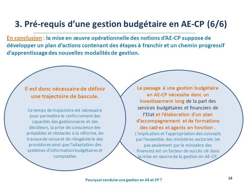 Le passage à une gestion budgétaire en AE-CP nécessite donc un investissement long de la part des services budgétaires et financiers de l'Etat et l'él