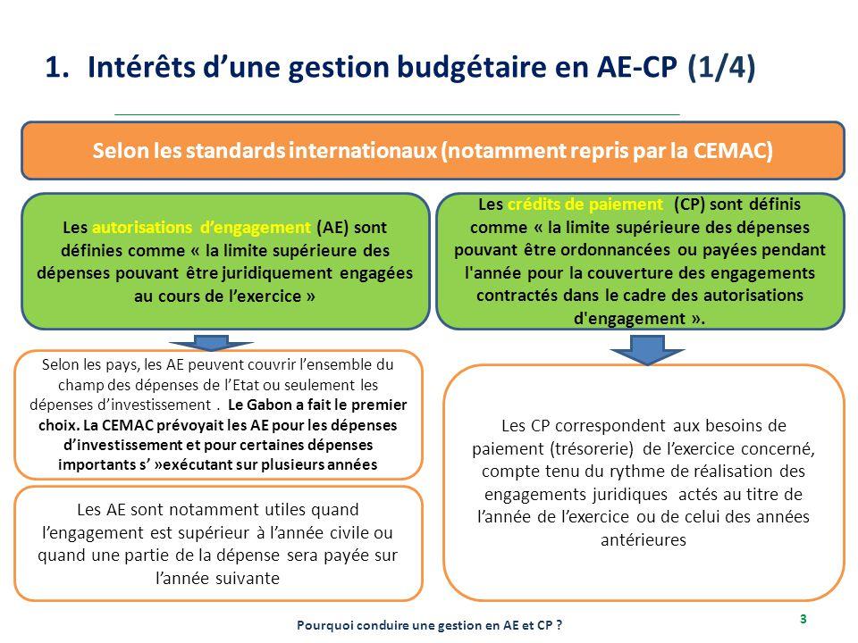 2-6/12/2013 3 1.Intérêts d'une gestion budgétaire en AE-CP (1/4) Pourquoi conduire une gestion en AE et CP ? Selon les standards internationaux (notam