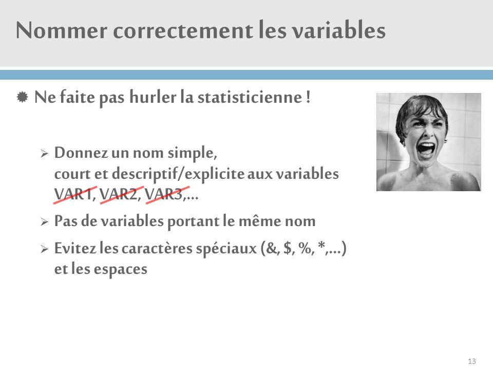 Nommer correctement les variables  Ne faite pas hurler la statisticienne !  Donnez un nom simple, court et descriptif/explicite aux variables VAR1,